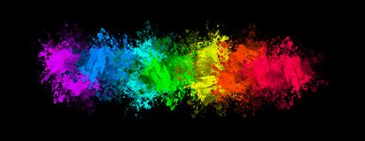 Colorful splats on black. Colorful splats, (splashes)  including mauve, blues, greens, yellow, orange and red on a black background Stock Photos