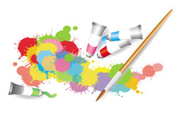 Colorful splatter by watercolor painting Stock Image