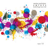 Colorful splattered web design repeat pattern, art ink blob, mul Royalty Free Stock Photography