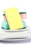 Colorful sponge. Kitchen utensil of colorful sponge for washing dish royalty free stock photo