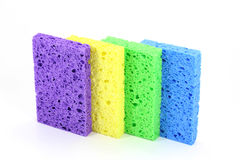 Colorful Sponges. Four sponges lined up against a white background Stock Photography
