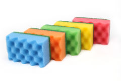 Colorful  sponges for cleaning - isolated Royalty Free Stock Photos