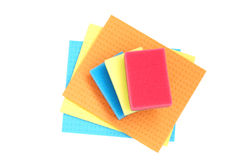 Colorful sponges and cloths for cleaning. Royalty Free Stock Images