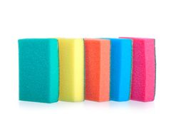 Colorful sponges for washing dishes stand Stock Photo