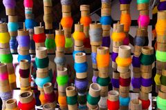 Colorful spools of thread in paper umbrella factory Chiang Mai, Thailand stock photo