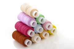 Colorful spools threads Royalty Free Stock Image