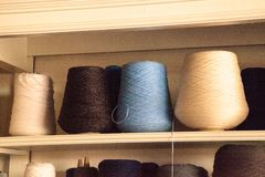 Colorful spools of wool that have been spun from hand and prepar Royalty Free Stock Photography
