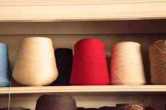 Colorful spools of wool that have been spun from hand and prepar Royalty Free Stock Photo