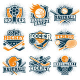 Colorful Sport Emblems Set. Set of nine isolated colorful sport logos representing different sport disciplines on blank background flat vector illustration Royalty Free Stock Images