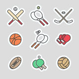 Colorful sport games stickers Stock Photography
