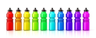 Colorful sport plastic water bottles. 3D render  on a white background Royalty Free Stock Photos