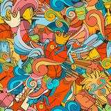 Colorful sport seamless pattern with basketball doodle objects Royalty Free Stock Images