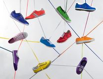 Colorful sport shoes. Colorful shoes, sport shoes connected with shoelaces Stock Photos