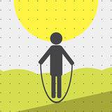 Colorful sports poster-style minimalism flat for commercial websites. The athlete jumps rope. Vector Royalty Free Stock Photos