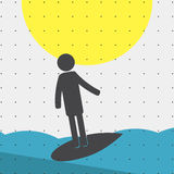 Colorful sports poster-style minimalism flat for commercial websites. The athlete is riding the surf Board. Vector Royalty Free Stock Photos