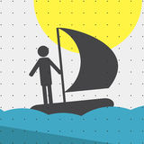 Colorful sports poster-style minimalism flat for commercial websites. The athlete sails on a sailing boat, sailing. Vector Stock Photo