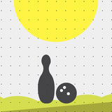 Colorful sports poster-style minimalism flat for commercial websites. The attributes for the bowling ball and pins. Vector Stock Photo