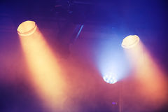 Colorful spot lights, stage illumination. Background photo Royalty Free Stock Images