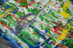 Colorful spots painting waxy watercolor abstract background Royalty Free Stock Image