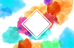 Colorful spotty watercolour illustration painting square copy sp Royalty Free Stock Photo