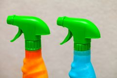 Colorful cleaning spray detergent stock photography