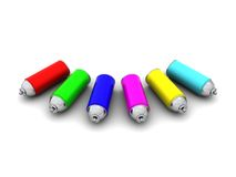 Colorful spray can. 3d illustration of colorful spray cans over white background Royalty Free Stock Image