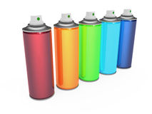 Colorful spray cans. Isolated on white background Stock Photography