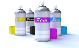 Colorful Spray Cans. Colorful spray paint Cans isolated on white Stock Photo