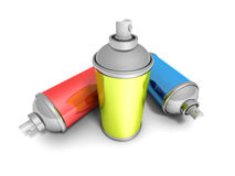 Colorful Spray Paint Cans On White Background Stock Photo