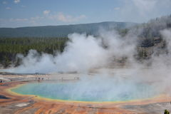 Colorful Spring. We hike the unbeaten path for this picture of The Grand Prismatic Spring royalty free stock images