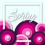 Colorful spring background with flowers in a flat style Stock Image