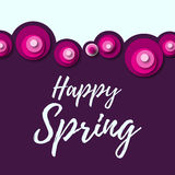 Colorful spring background with flowers in a flat style Stock Photo