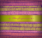 Colorful spring banner with rows of hand drawn horizontal folds and satiny ribbon. Cute border with place for your text Royalty Free Stock Images