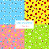 Colorful spring beetle collection wallpaper set Royalty Free Stock Images