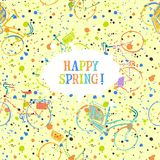 Colorful spring bicycles pattern with frame Stock Images