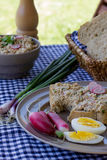 Colorful spring breakfast – whole grain bread and tuna spread Royalty Free Stock Photo