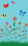 Colorful spring butterfly flowers illustration Royalty Free Stock Image