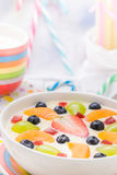 Colorful spring dessert vanilla pudding fruit Stock Image