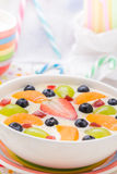 Colorful spring dessert vanilla pudding fruit Stock Photography
