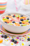 Colorful spring dessert vanilla pudding fruit Stock Photo