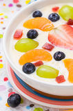 Colorful spring dessert vanilla pudding fruit Royalty Free Stock Photography