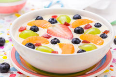 Colorful spring dessert vanilla pudding fruit Royalty Free Stock Photos