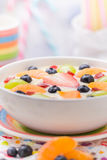 Colorful spring dessert vanilla pudding fruit Royalty Free Stock Images
