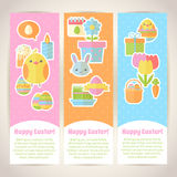 Colorful spring Easter flat banners set Stock Photos