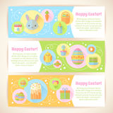 Colorful spring Easter flat banners set Royalty Free Stock Images