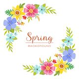 Colorful spring floral design corners. Perfect for greeting cards and invitation designs Stock Images