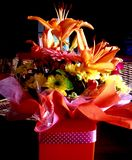 Colorful Spring flower box gift bouquet Stock Photos
