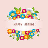 Happy spring flower card. Colorful spring flower postcard background.  Vector illustration layered for easy manipulation and custom coloring.Vector illustration Royalty Free Stock Image