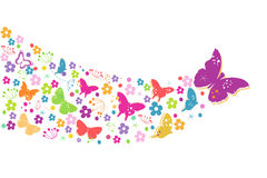 Colorful spring flowers with butterflies background Stock Images