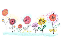 Colorful spring flowers. Decorative floral background, hand drawn flowers vector illustration Stock Photo
